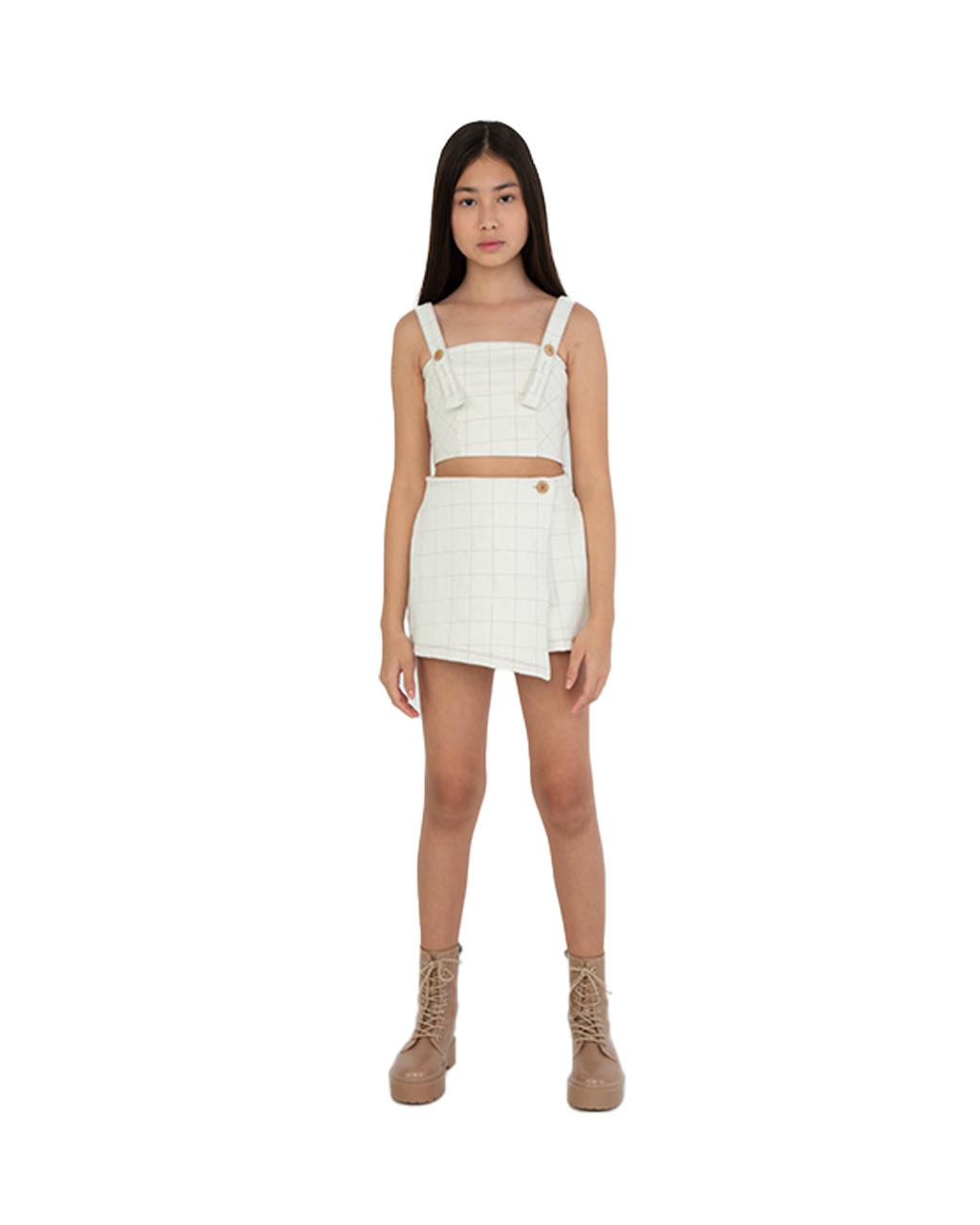 Conjunto Teen Top Recortes com Shorts Saia Off White Dimy Candy