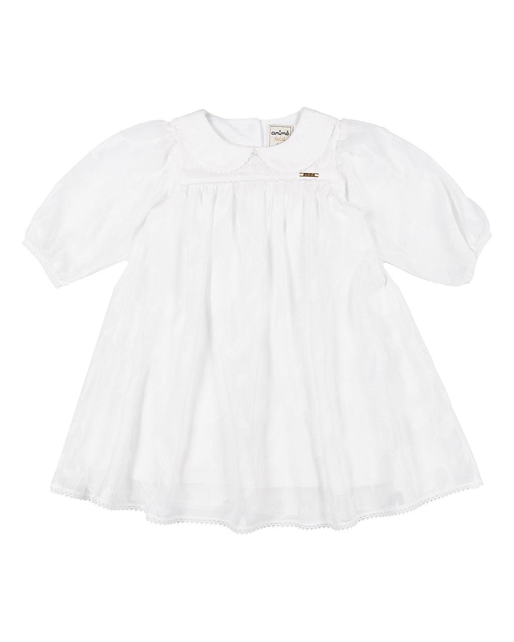 Vestido Baby Batizado Bordado de Flores Animê