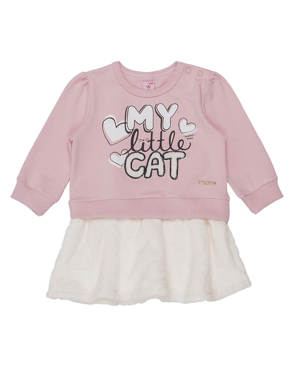 Vestido Baby Cat Molecotton Com Saia Pêlo Momi