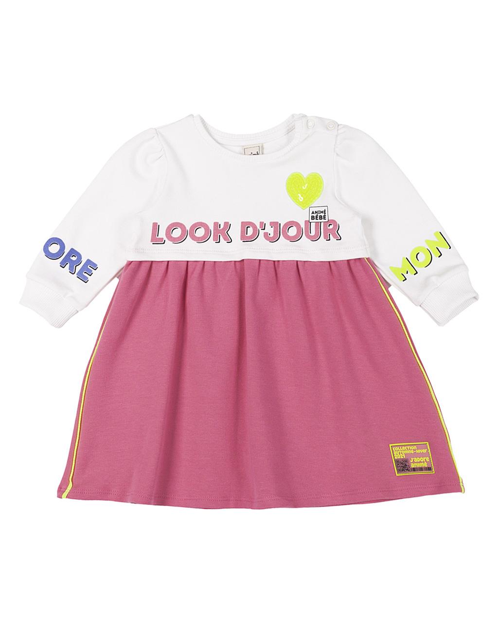 Vestido Baby Molecotton Crú Rosa Animê