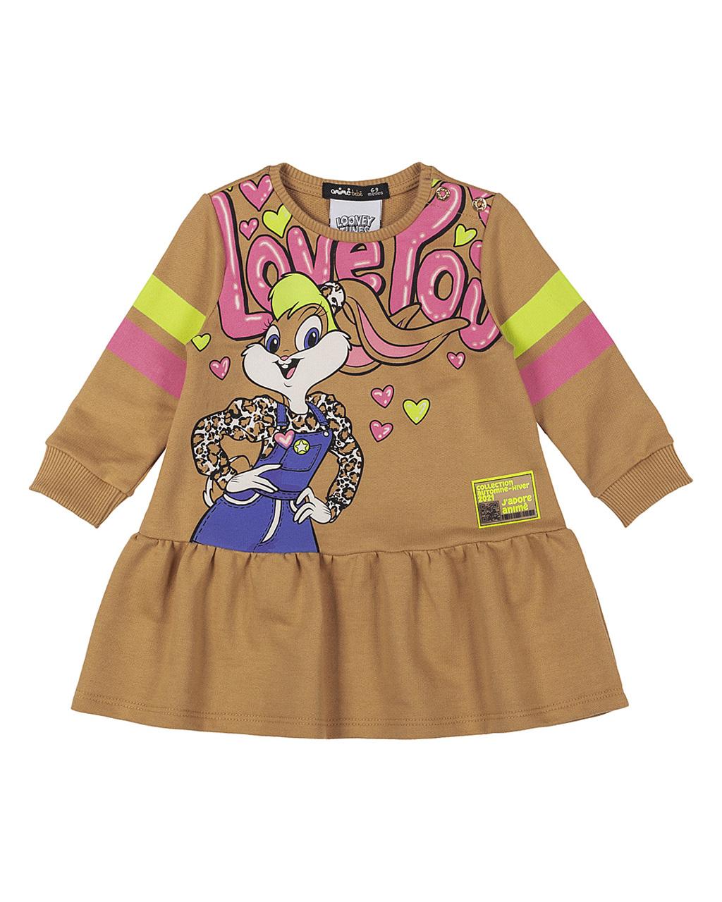Vestido Baby Moletom Caramelo Lola Animê
