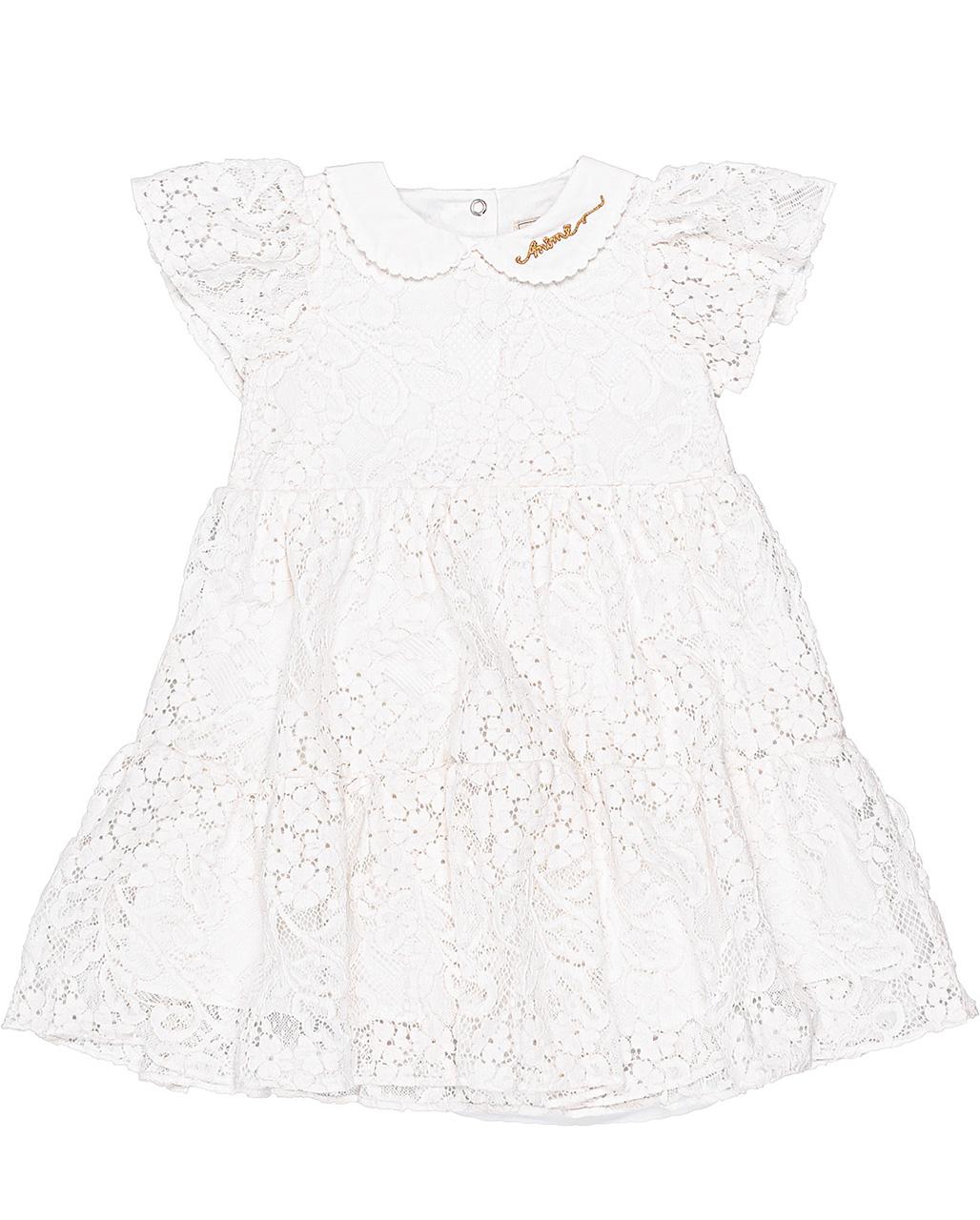 Vestido Bebê Batizado Renda Off White Animê