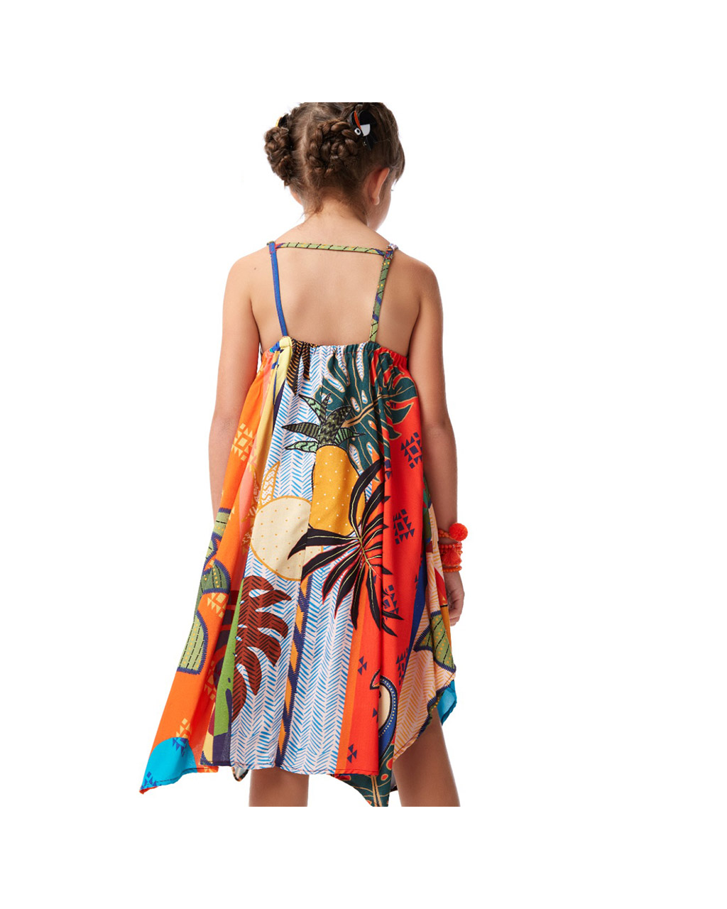 Vestido Infantil Assimetrico Tropical Camu Camu