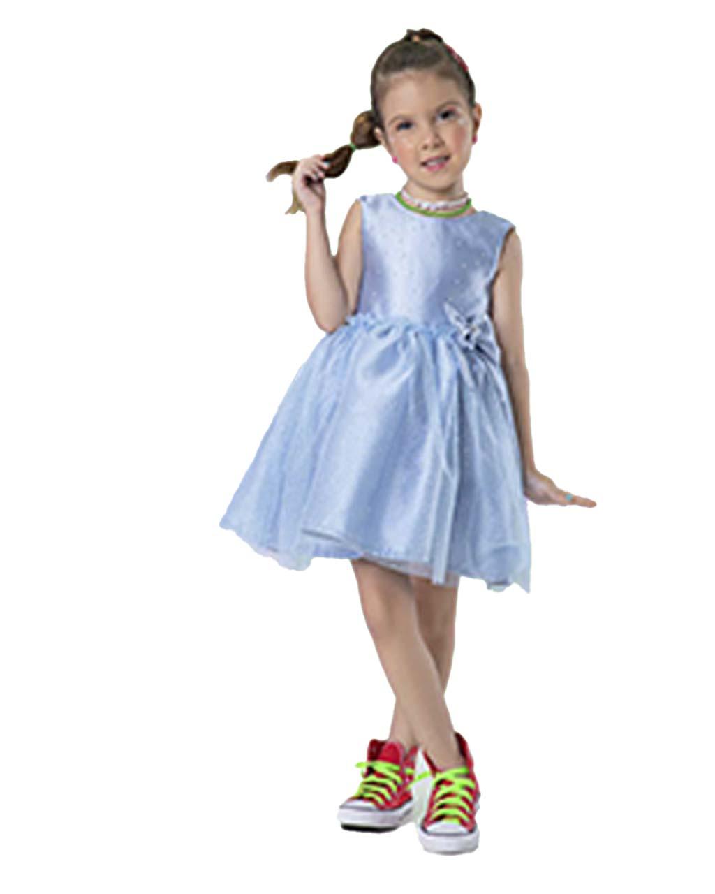 Vestido Infantil Azul Céu Com Tule de Glitter