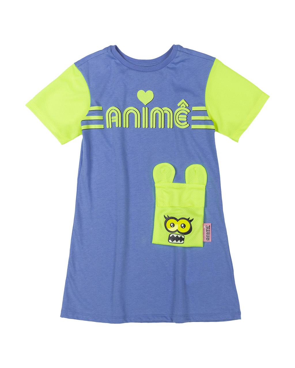 Vestido Infantil Azul com Mangas e Bolso Tela Amarelo Neon Animê