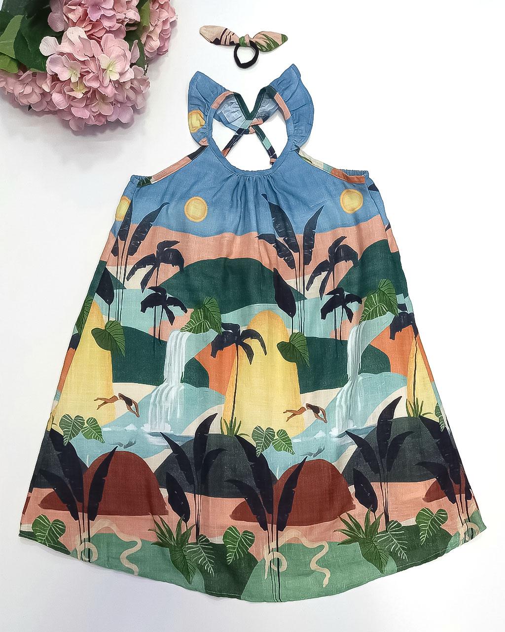 Vestido Infantil Cachoeira com Acessório de Cabelo Mundo Céu