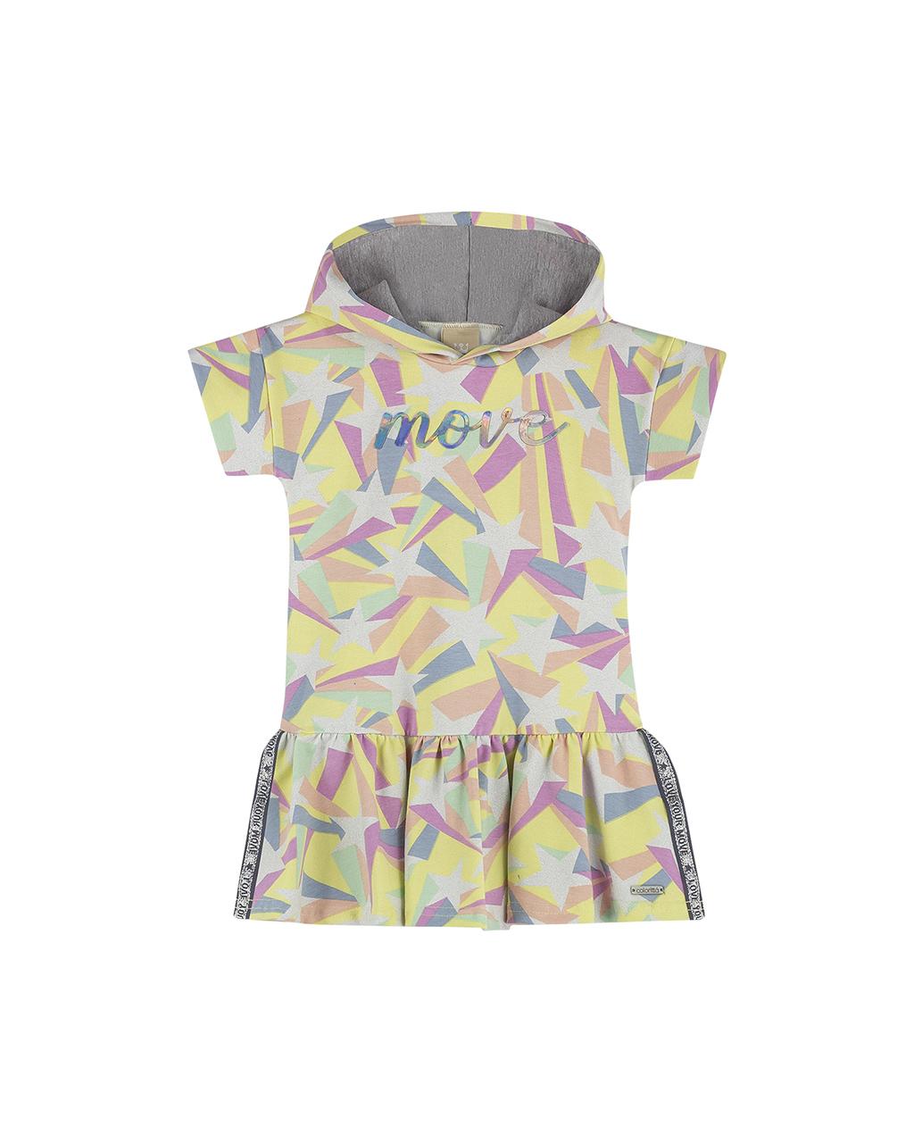 Vestido Infantil Com Capuz Amarelo Detalhe Estrela com Gliter Colorittá