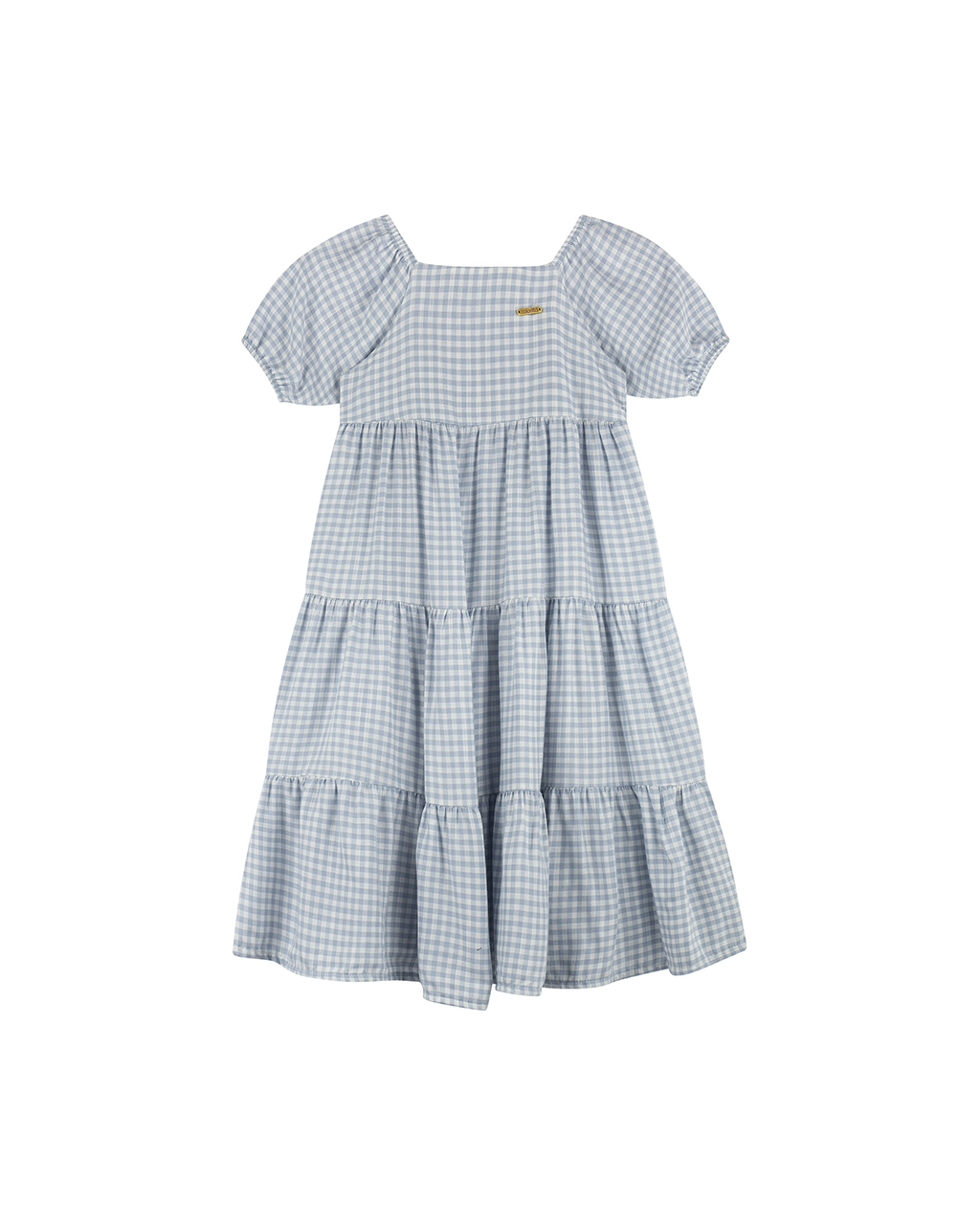 Vestido Infantil com Manga Xadrez Off White e Azul Colorittá