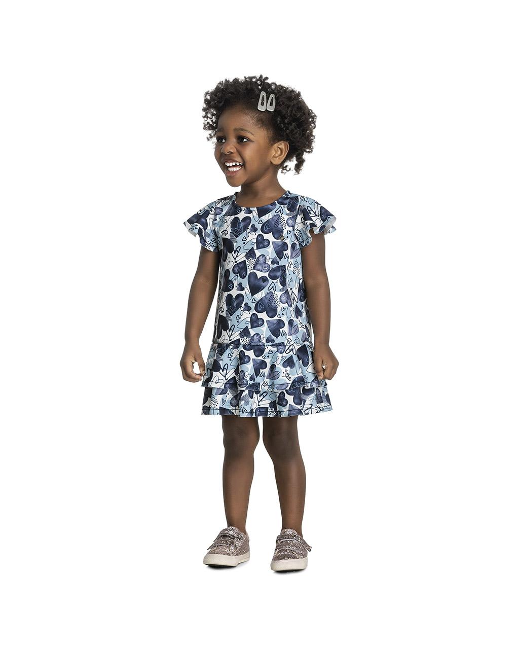 Vestido Infantil Corações Azul Coloritta