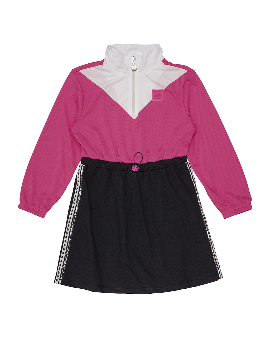 Vestido Infantil Corta Vento com Moletinho Tricolor Momi