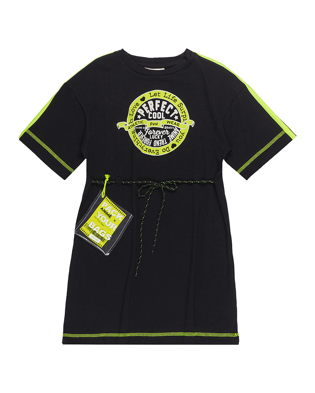 Vestido Infantil Cotton Cinto Bolsinha Identidade Com Neon Animê