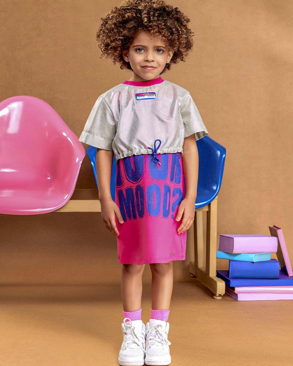 Vestido Infantil Cotton Com Sobreposição Holografico Animê