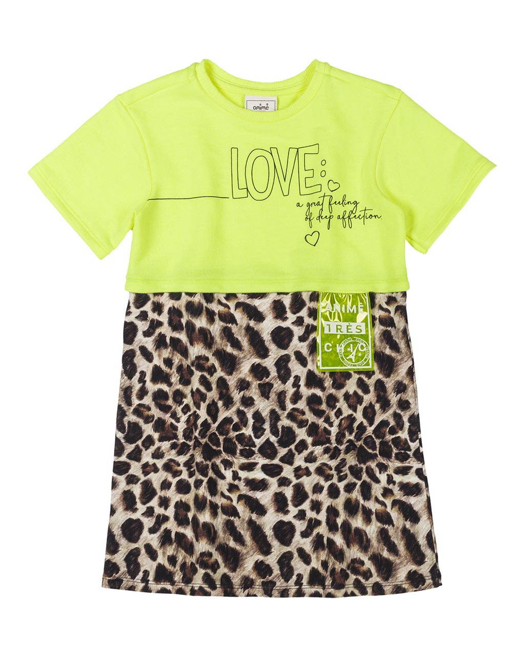 Vestido Infantil Cotton Onça Amarelo Neon Animê
