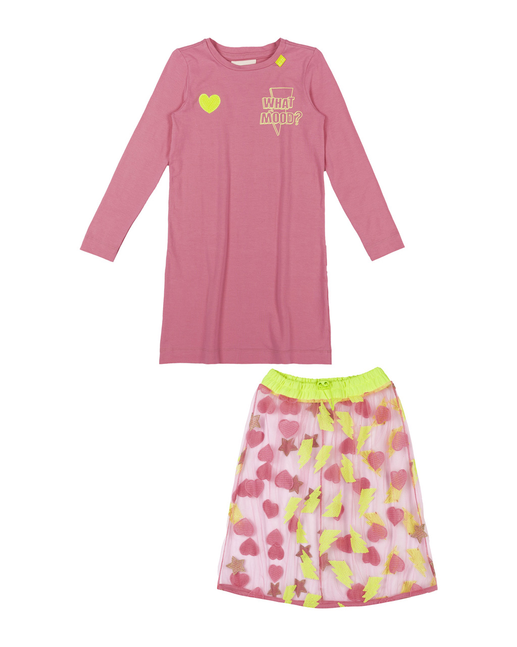 Vestido Infantil Cotton Rosa Com Saia Tule Bordado Neon Animê