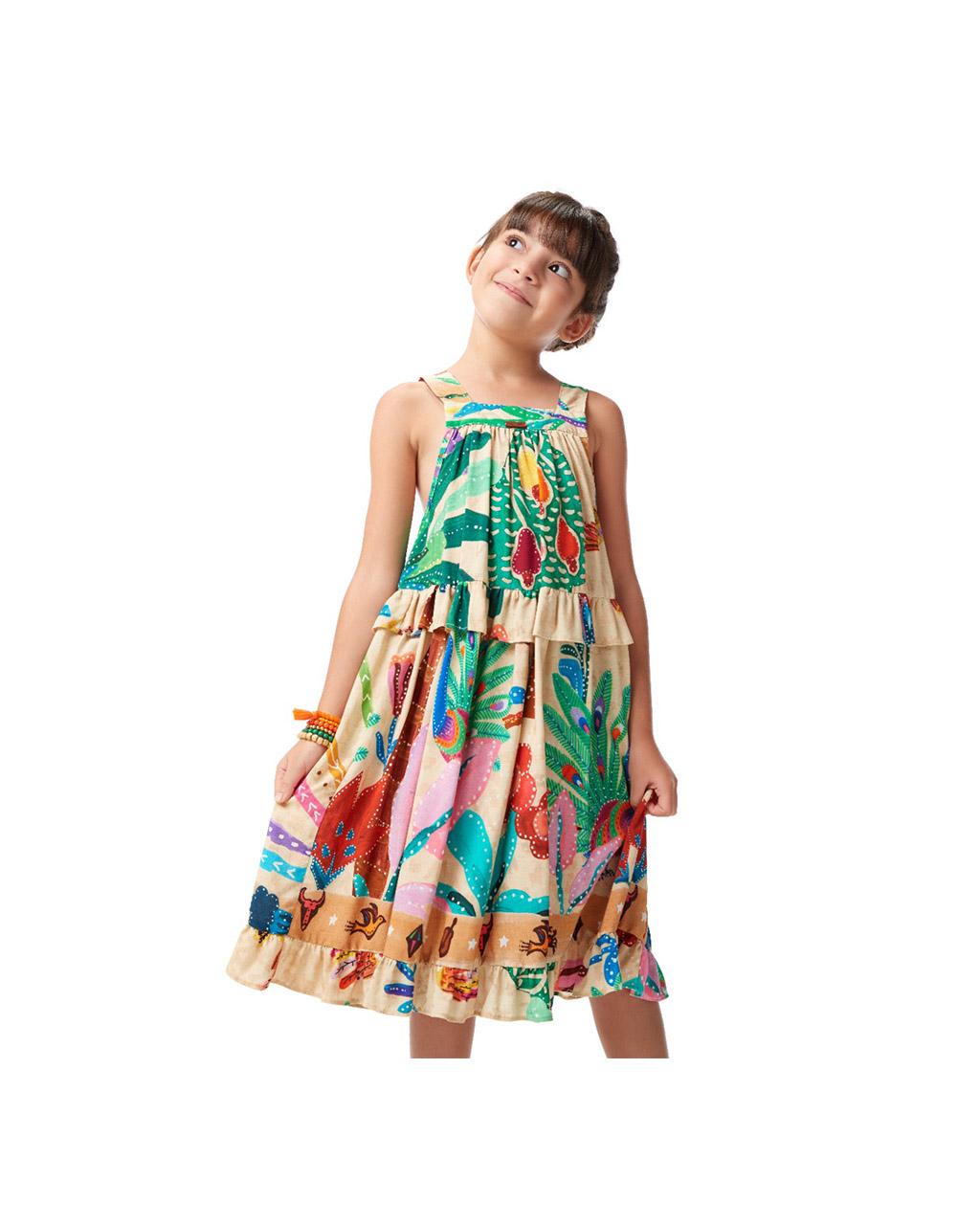 Vestido Infantil Detalhes Colorido Natureza Camu Camu