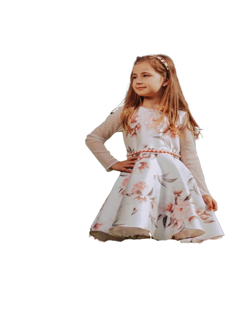 Vestido Infantil Floral Cinto Bordado Pérolas Bambollina
