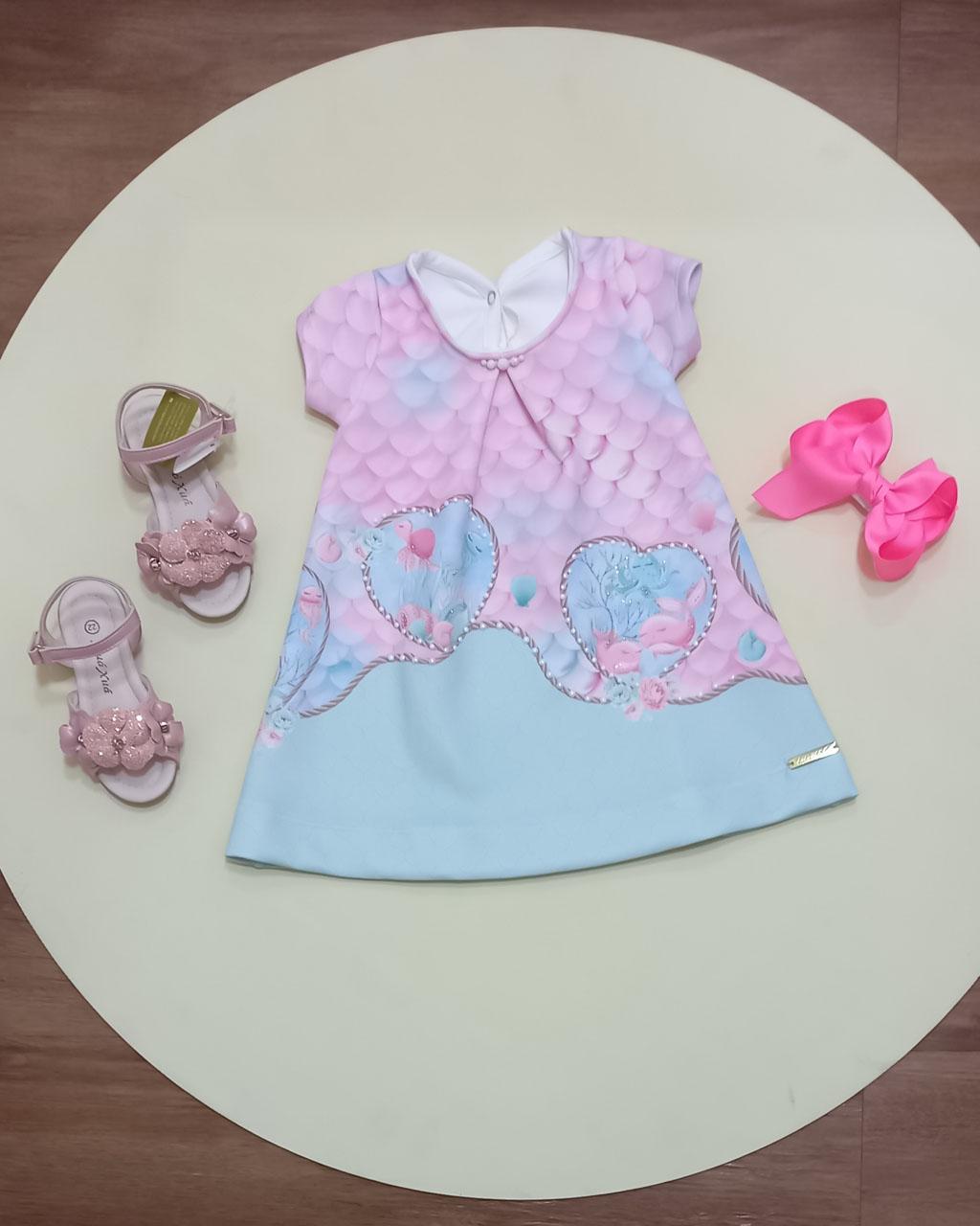 Vestido Infantil Fundo do Mar Baby Kikixodó