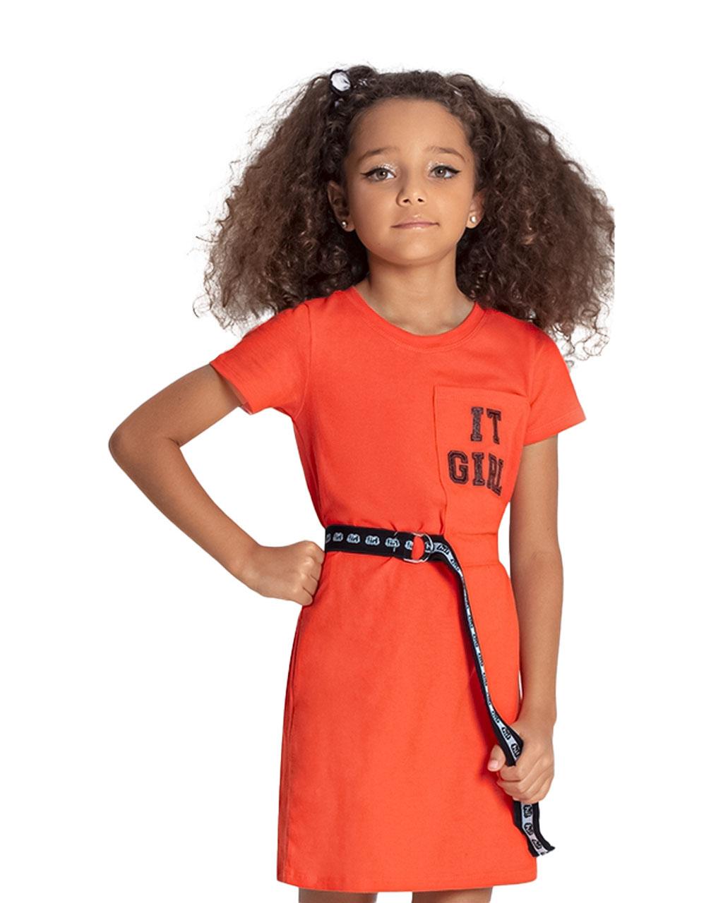 Vestido Infantil It Girl Laranja Bobbylulu