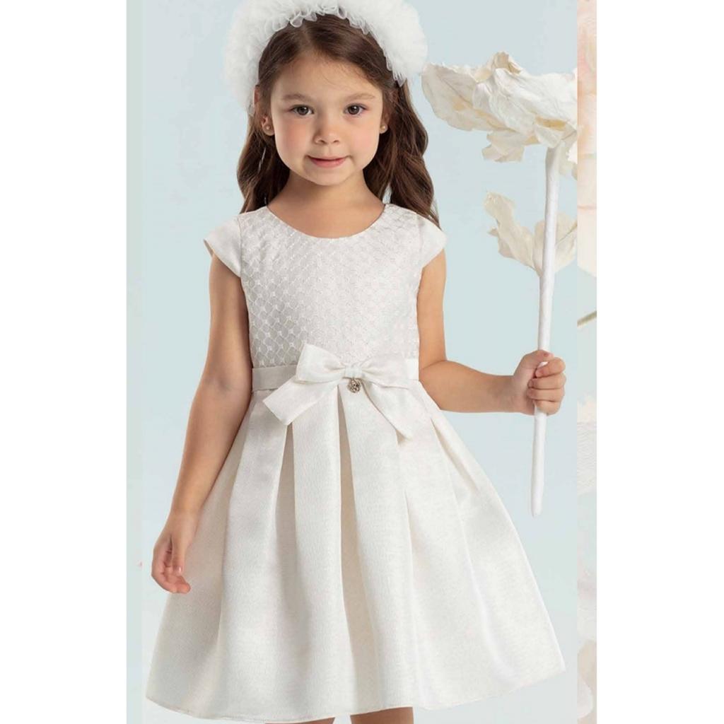 Vestido Infantil Jacquard Realeza Dourado Petit Cherie