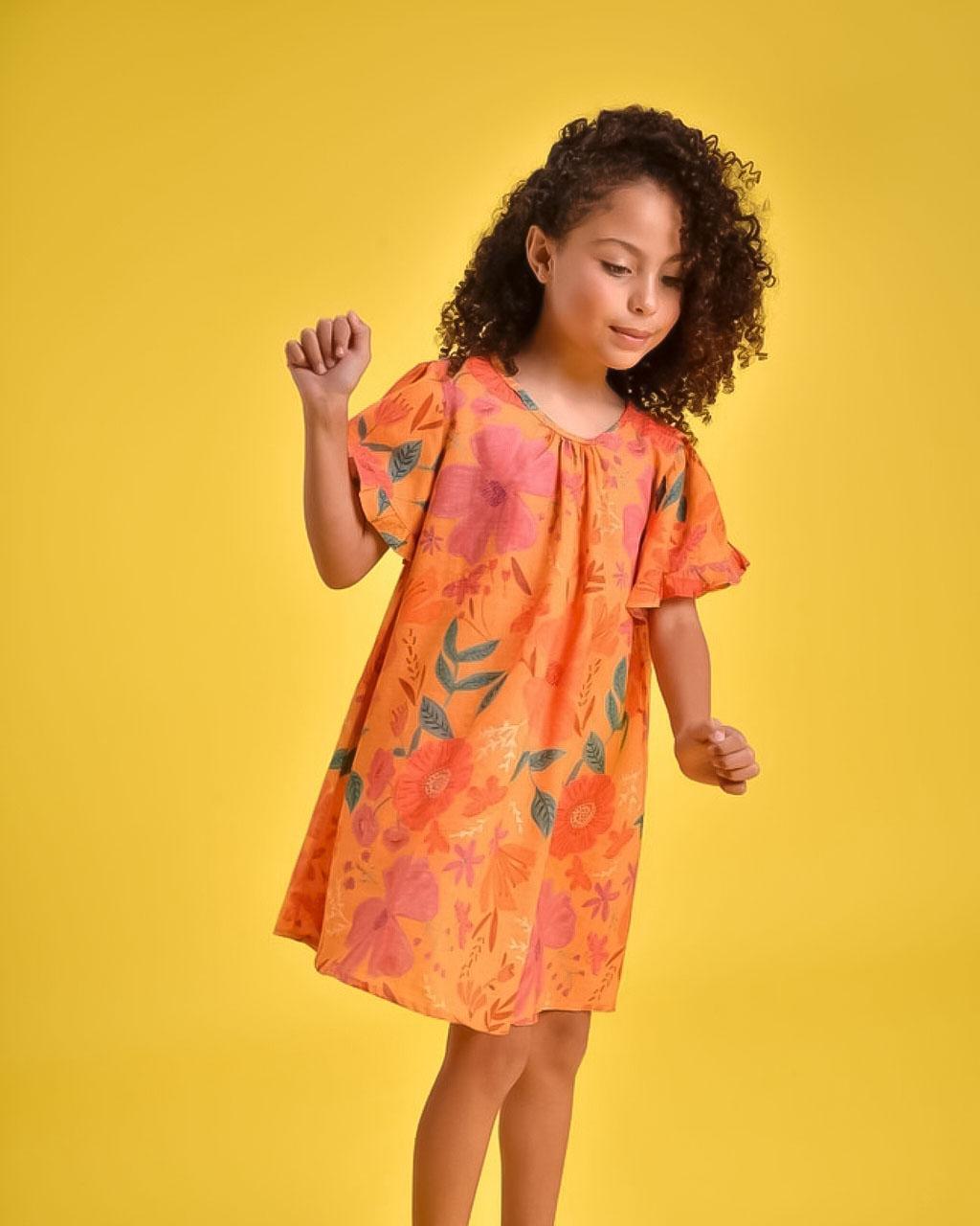 Vestido Infantil Jardim com Calcinha e Acessório de Cabelo Mundo Céu