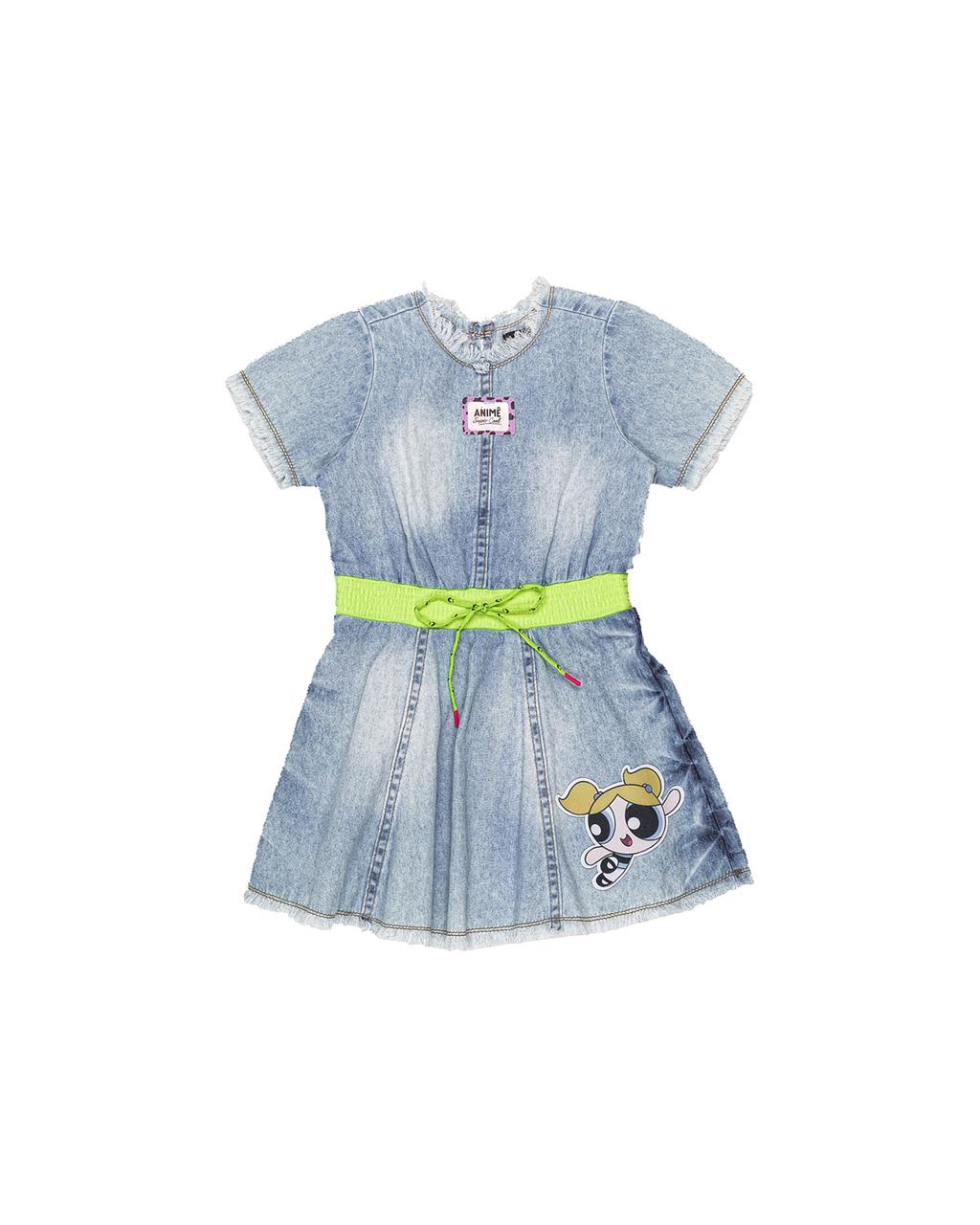 Vestido Infantil Jeans Animê