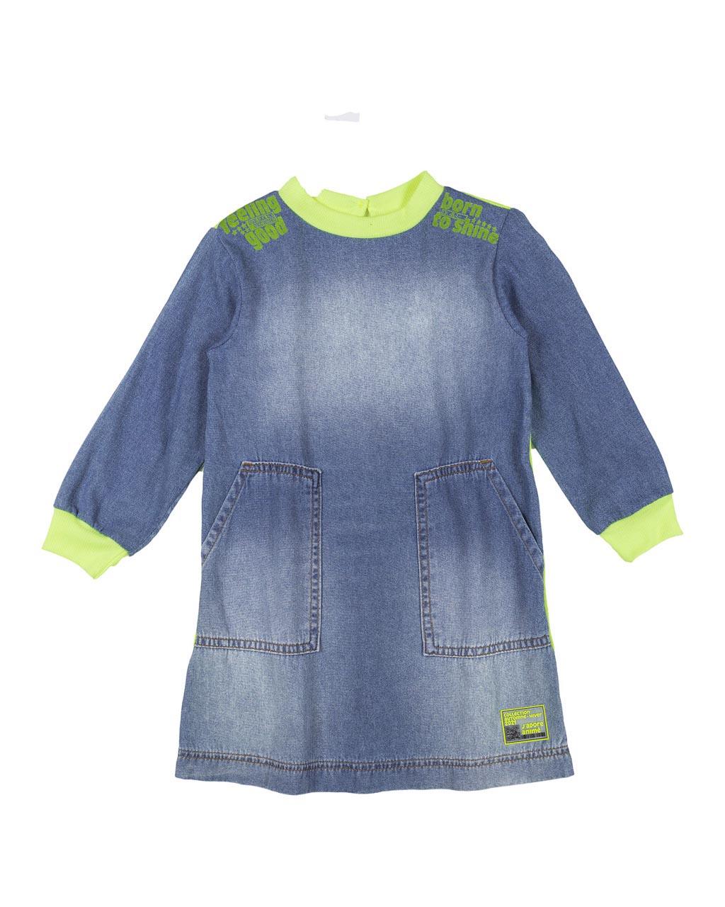 Vestido Infantil Jeans Com Detalhes Neon Animê