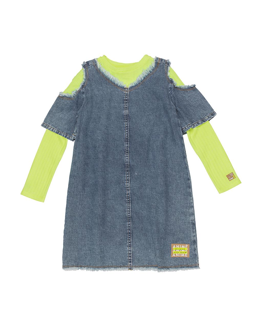 Vestido Infantil Jeans Levitá Com Blusa Canelado Amarelo Neon Animê