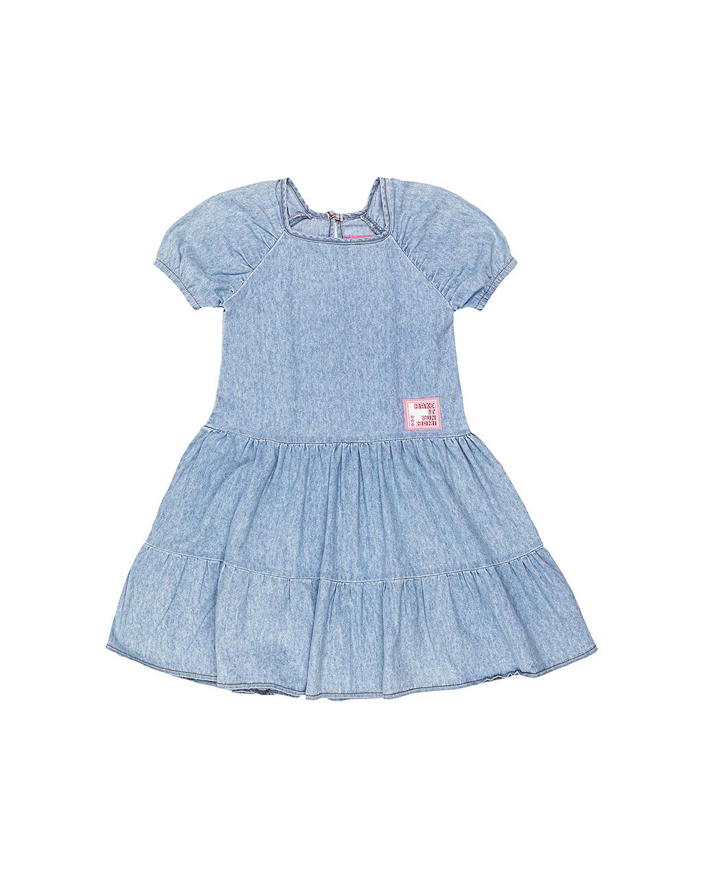 Vestido Infantil Jeans Recortes Momi