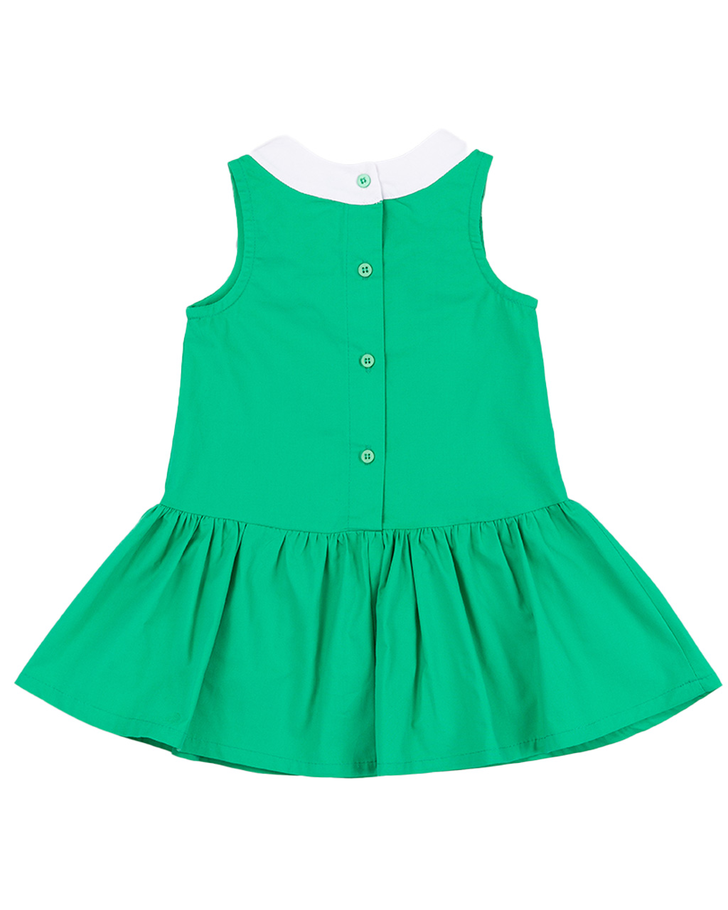 Vestido Infantil Laço na Gola Verde Um Mais Um