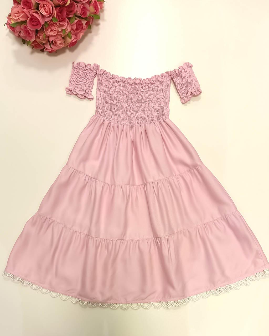 Vestido Infantil Lastex Detalhe Na Barra Passamanaria Rosa Lumilu