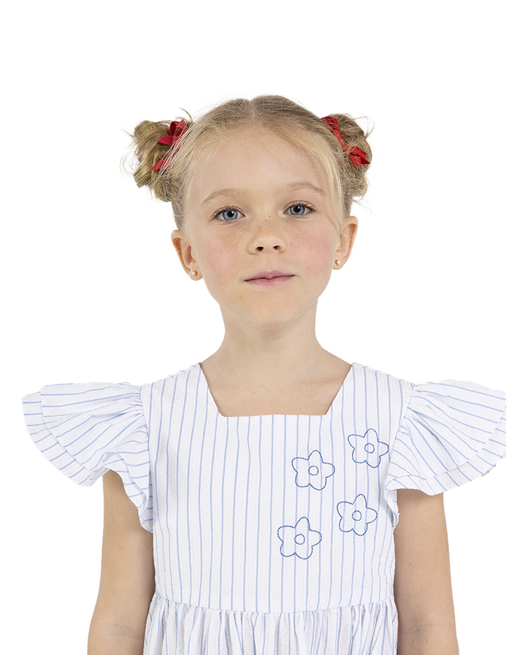 Vestido Infantil Listrado Off White Beaba