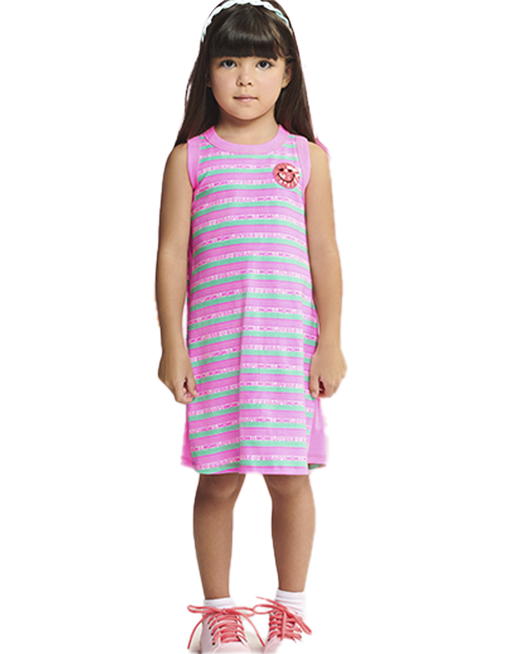 Vestido Infantil Listrado Rosa Momi