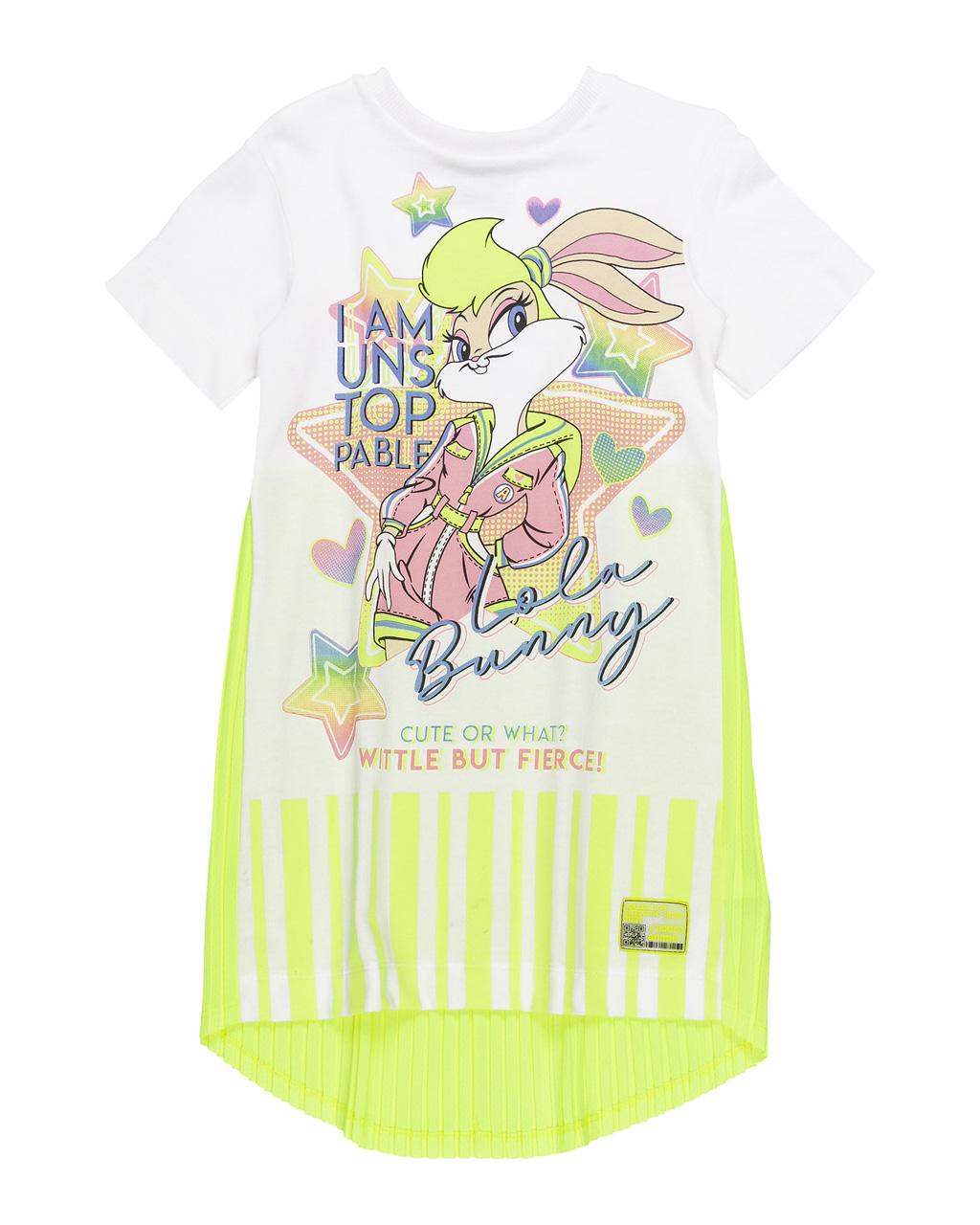 Vestido Infantil Lola Plissado Amarelo Neon Animê