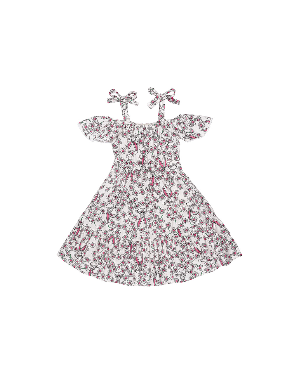 Vestido Infantil Loney Tunes Floral Animê