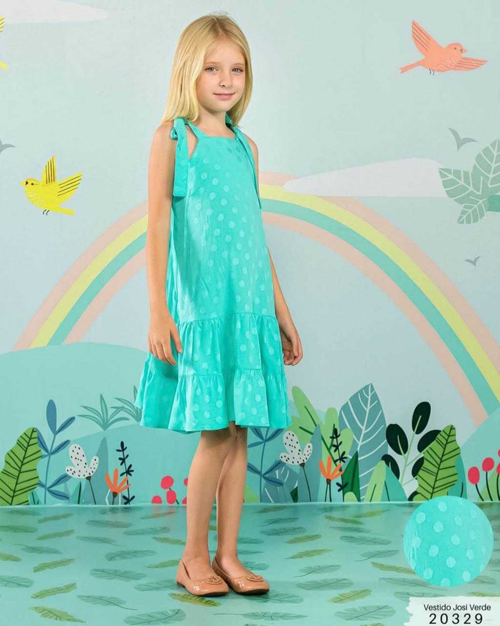 Vestido Infantil Longo Verde Piscina Lumilu