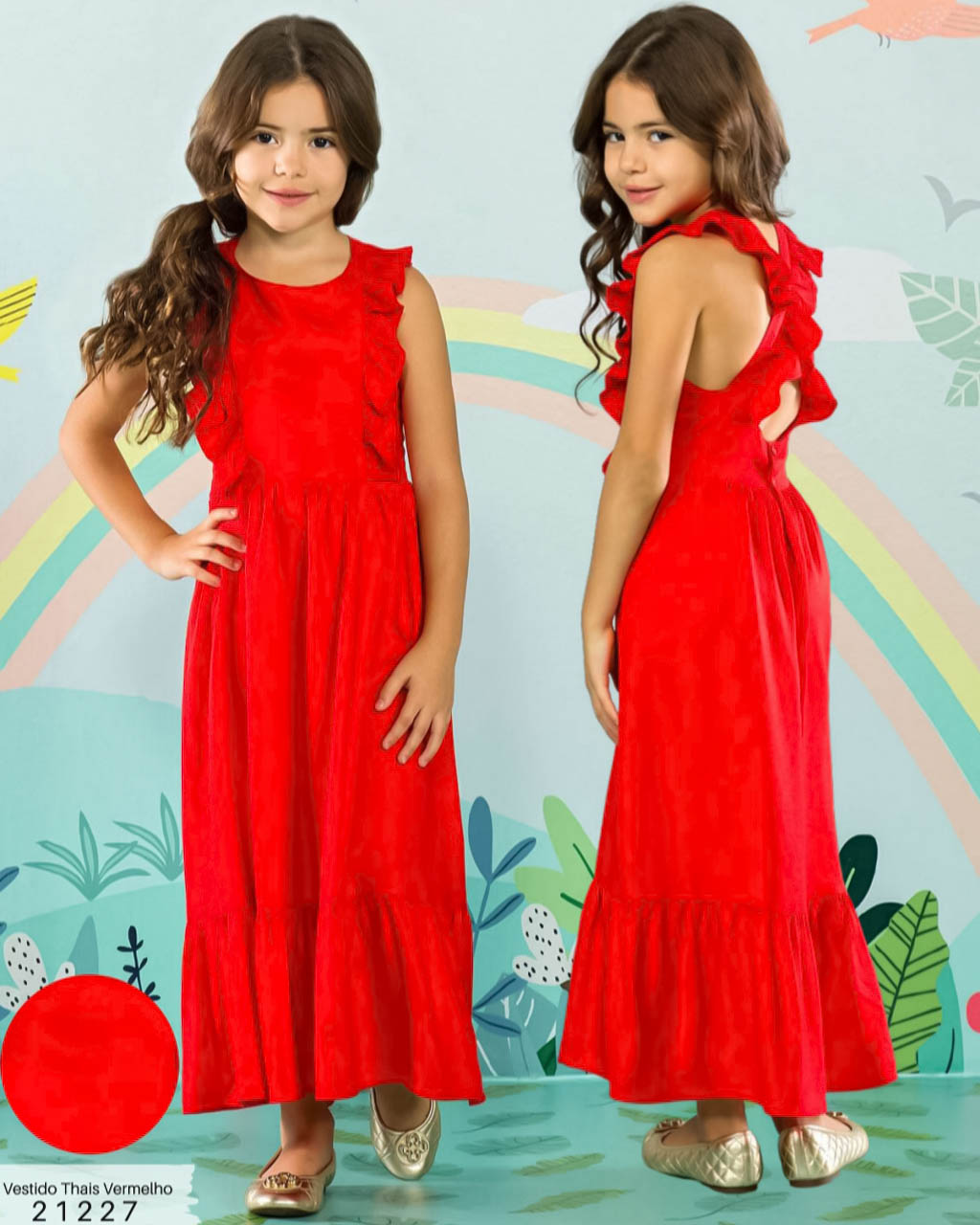 Vestido Infantil Longo Vermelho Fim de Ano Lumilu