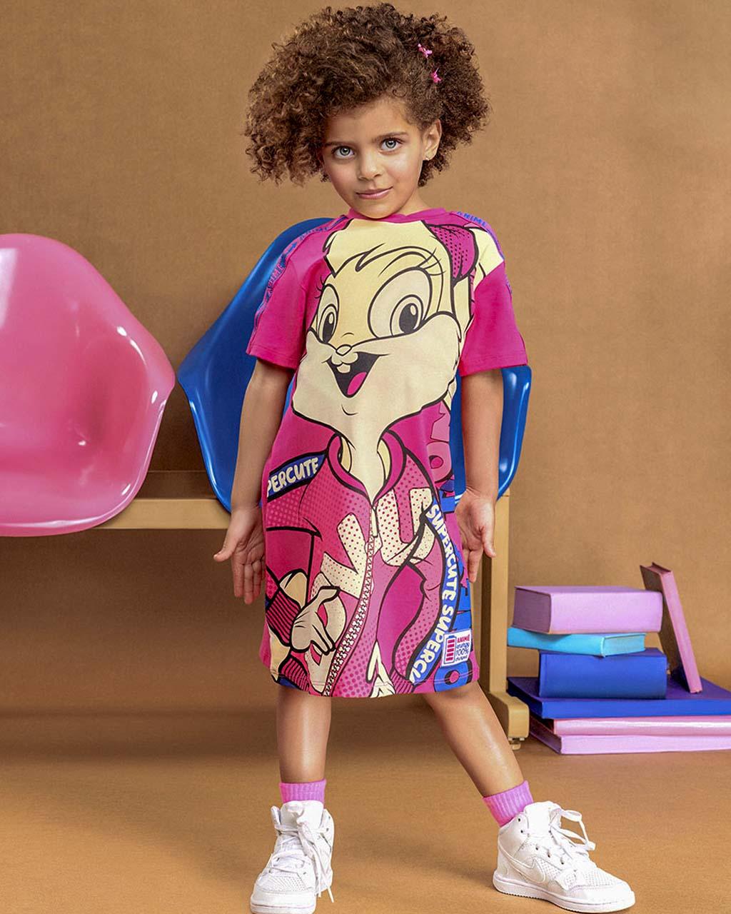 Vestido Infantil Manga Curta Pink Lola Animê