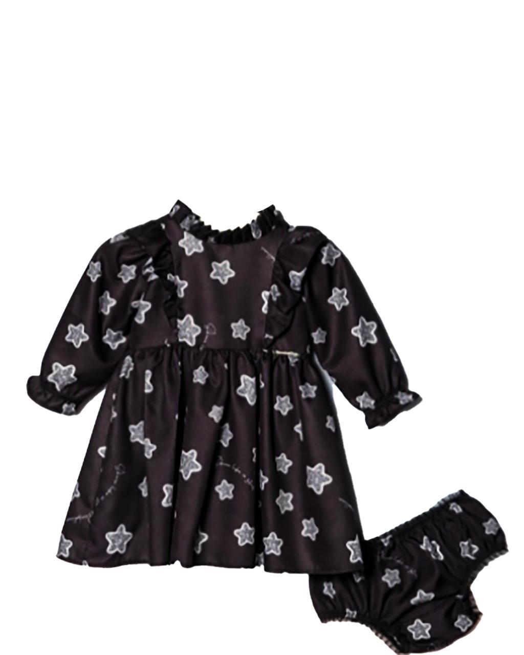 Vestido Infantil Manga Longa Babados Estrelas com Calcinha Bambollina