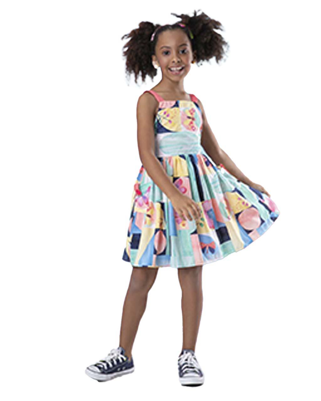 Vestido Infantil Mistura de Cores com  Borboletas Málagah