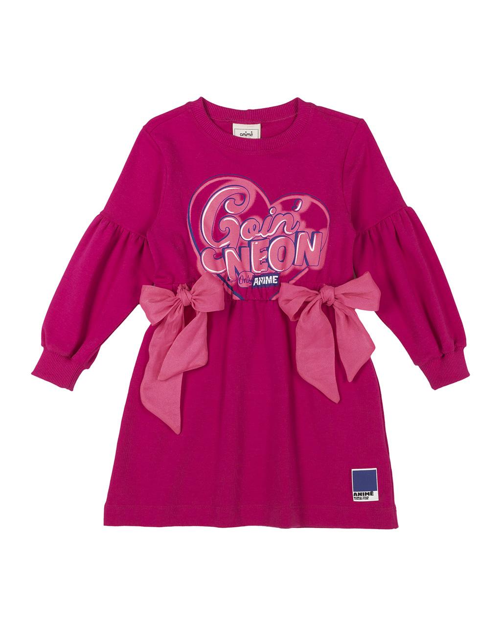 Vestido Infantil Molecoton Pink Laços Rosa Neon Animê