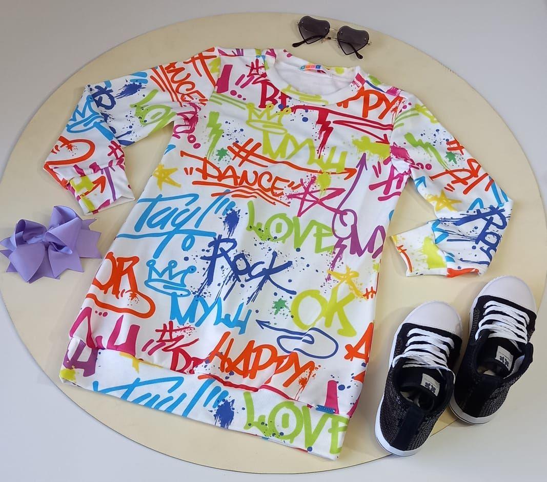 Vestido Infantil Moletinho Estampado Letras Manga Longa Mylu