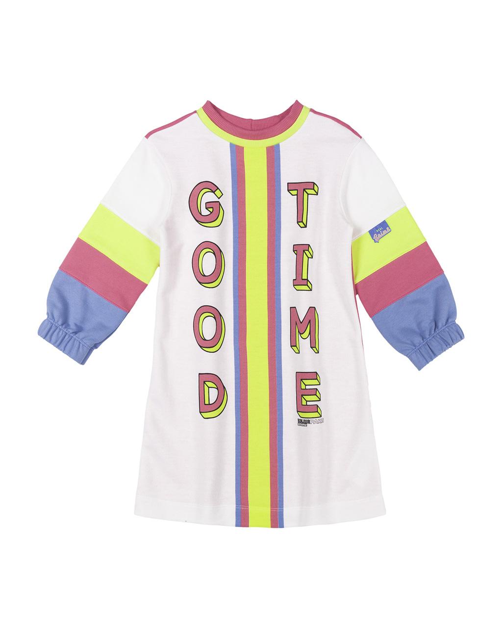 Vestido Infantil Moletom Com Recortes Neon Animê