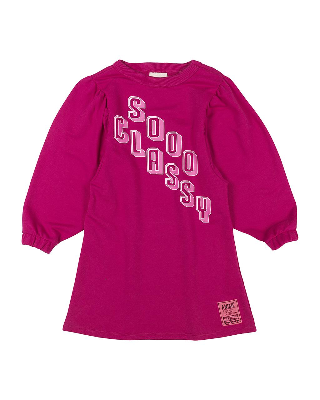 Vestido Infantil Moleton Mangas Bufantes Pink Animê