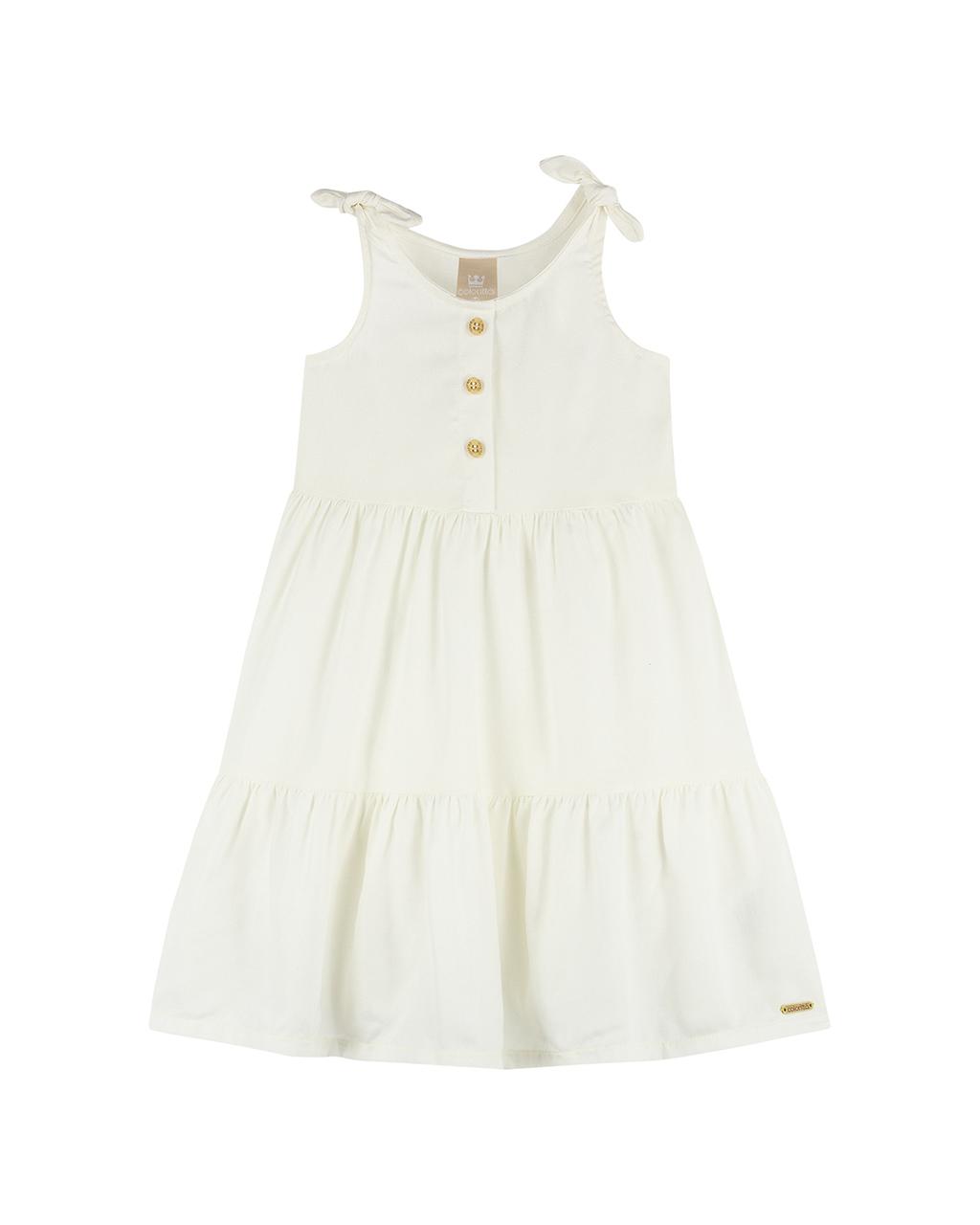 Vestido Infantil Off White Detalhe Lacinho na Alça e Três Botões na Frente Colorittá