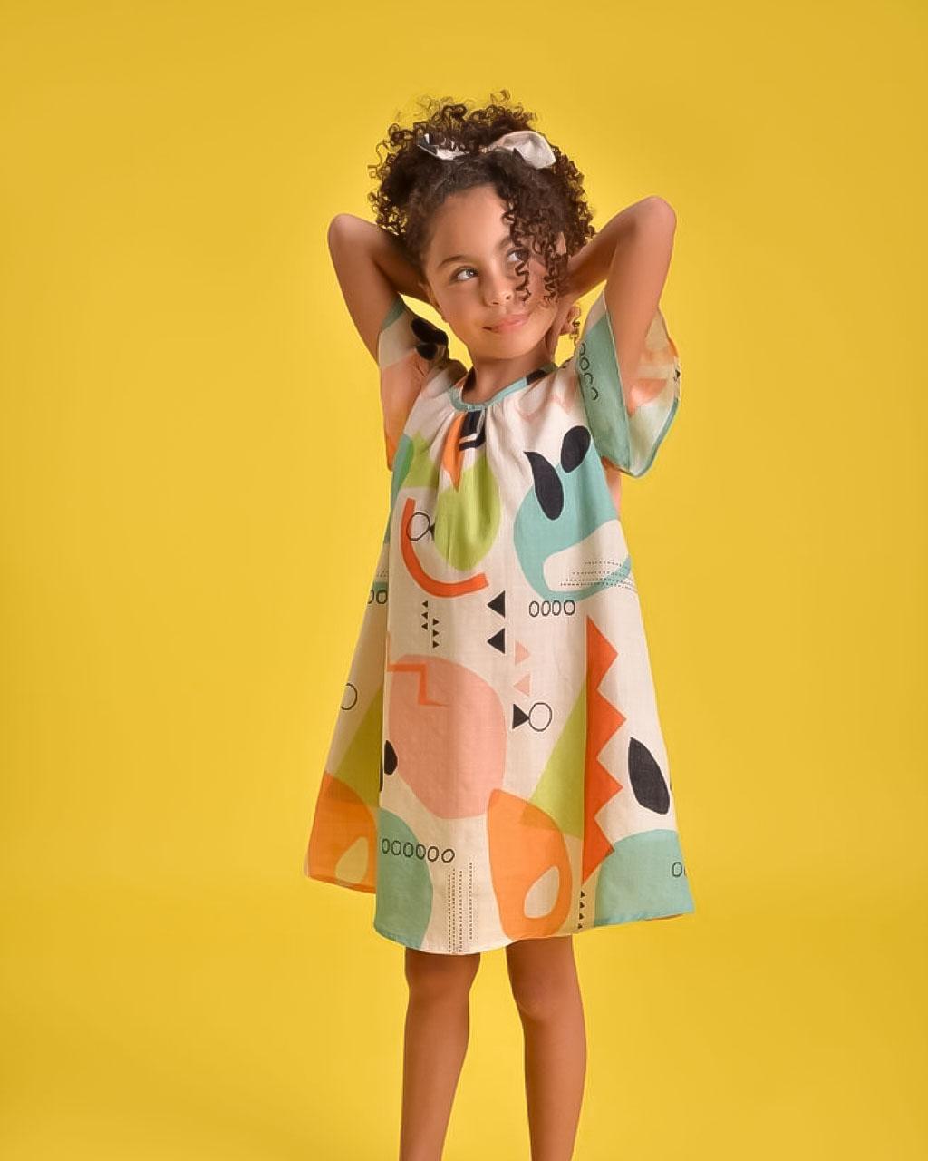 Vestido Infantil Orgânico com Acessório de Cabelo Off White Mundo Céu