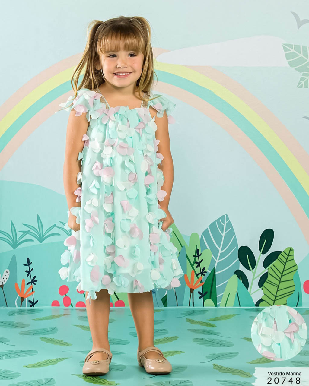 Vestido Infantil Petalás 3D Verde Água Lumilu