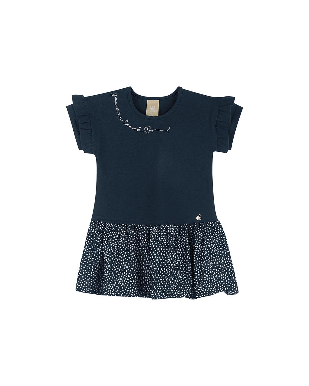 Vestido Infantil Poa Azul Marinho Coloritta