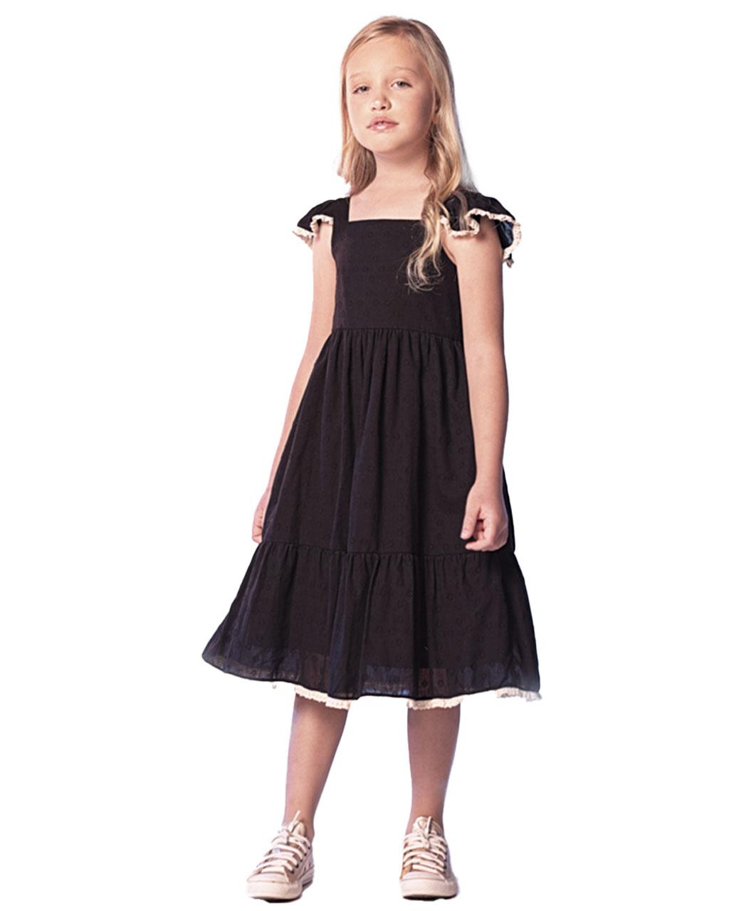 Vestido Infantil Poa Preto Que te Encante