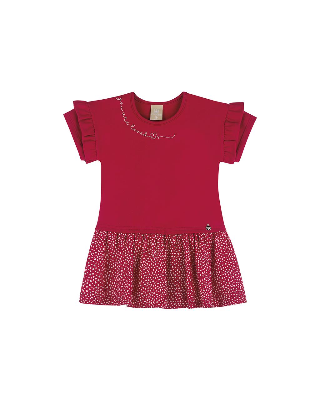 Vestido Infantil Poa Vermelho Coloritta
