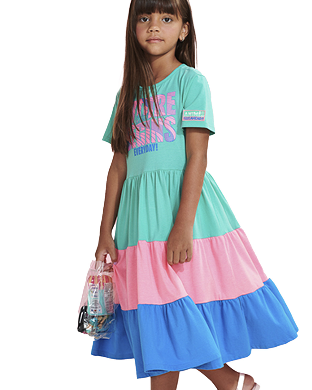 Vestido Infantil Recortes Coloridos Animê